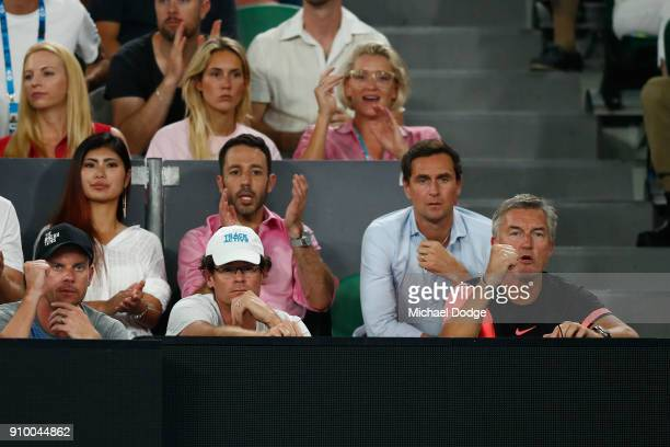 Kyle Edmund's coach Fredrik Rosengren watches the semifinal match between Kyle Edmund of Great Britain and Marin Cilic of Croatia on day 11 of the...