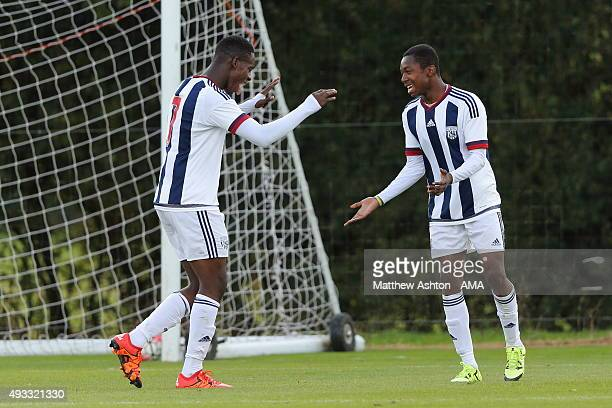 Kyle Edwards celebrates after scoring a goal to make it 20 with Jonathan Leko of West Bromwich Albion U18 during the U18 Premier League match between...