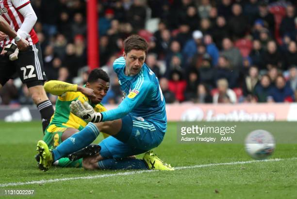 Kyle Edwards of West Bromwich Albion scores a goal to make it 0-1 during the Sky Bet Championship match between Brentford v West Bromwich Albion at...