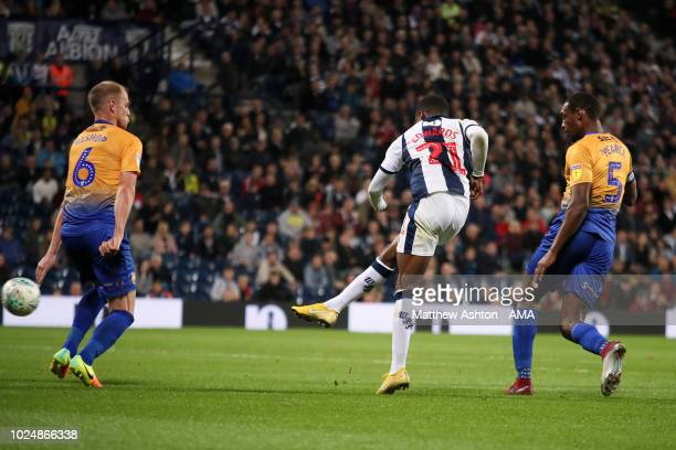 Kyle Edwards of West Bromwich Albion scores a goal to make it 21 during the Carabao Cup Second Round match between West Bromwich Albion and Mansfield...