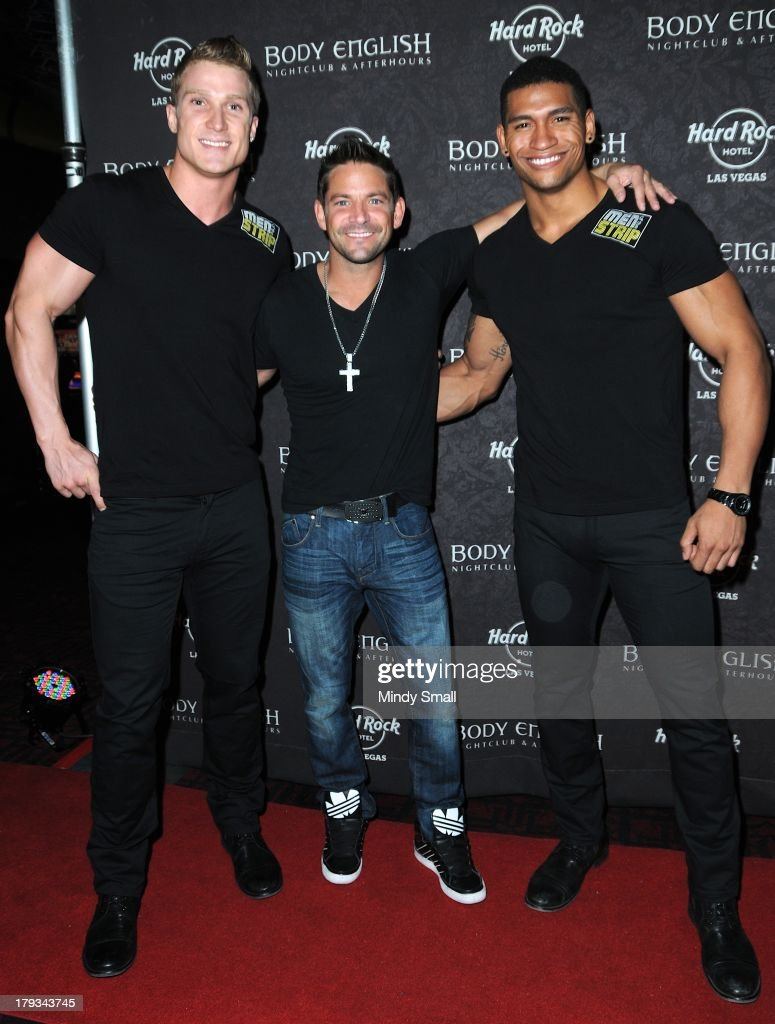 Kyle Efthemes, Jeff Timmons and Nate Estimada arrive at the Body English nightclub inside the Hard Rock Hotel & Casino on September 1, 2013 in Las Vegas, Nevada.