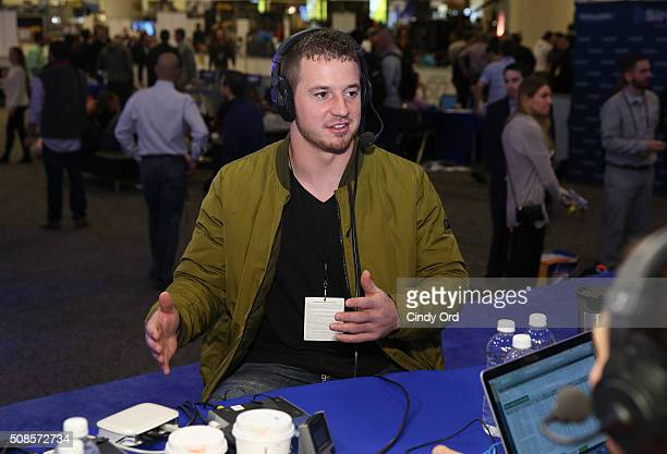 Kyle Emanuel of the San Diego Chargers visits the SiriusXM set at Super Bowl 50 Radio Row at the Moscone Center on February 5 2016 in San Francisco...