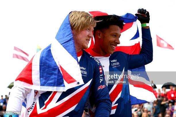 Kyle Evans of Great Britain and Kye Whyte of Great Britain celebrates after the Men's Final during the BMX on Day Ten of the European Championships...