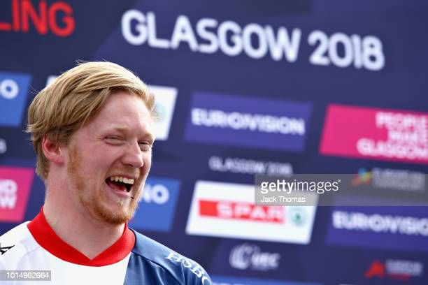 Kyle Evans of Great Britain celebrates winning gold after the Men's Final during the BMX on Day Ten of the European Championships Glasgow 2018 on...