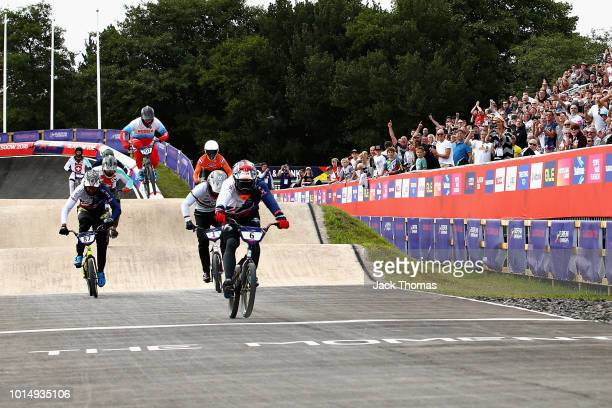 Kyle Evans of Great Britain crosses the line to win gold in the Men's Final during the BMX on Day Ten of the European Championships Glasgow 2018 on...