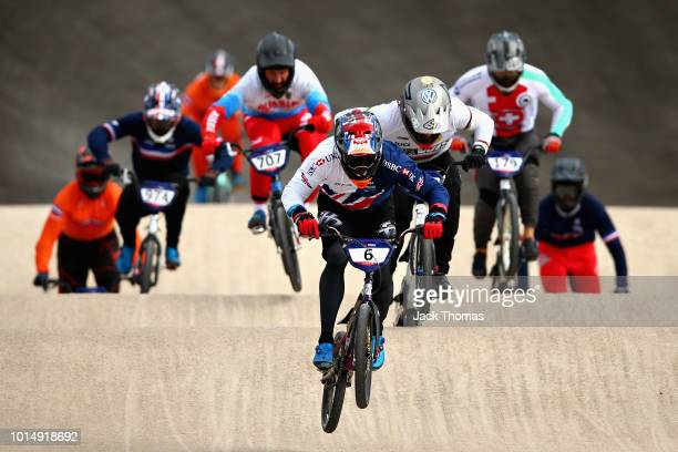 Kyle Evans of Great Britain leads in Heat 2 of the Men's Semi Finals during the BMX on Day Ten of the European Championships Glasgow 2018 on August...