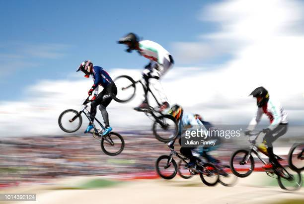 Kyle Evans of Great Britain leads in the Men's BMX Motos Heat 6 during the BMX on Day Nine of the European Championships Glasgow 2018 at on August 10...