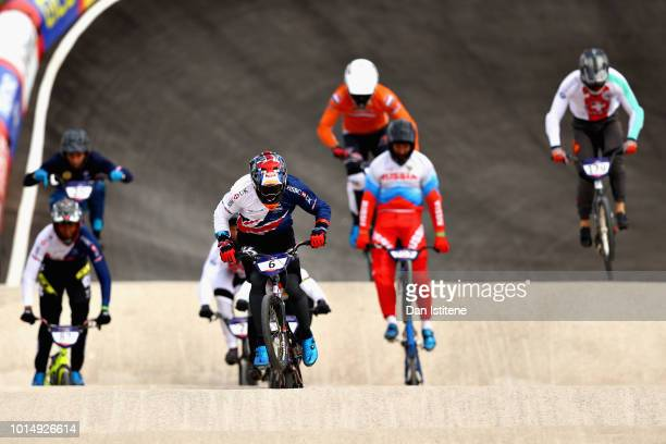 Kyle Evans of Great Britain leads the field in the Men's Final during the BMX on Day Ten of the European Championships Glasgow 2018 on August 11 2018...