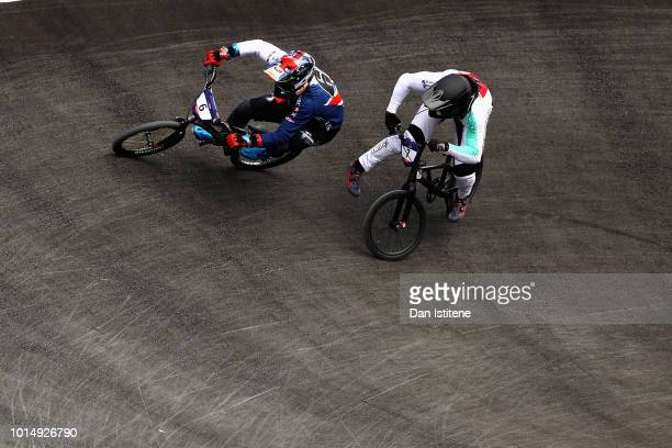 Kyle Evans of Great Britain races with David Graf of Switzerland in the Men's Final during the BMX on Day Ten of the European Championships Glasgow...