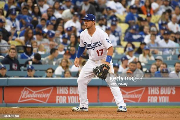 Kyle Farmer of the Los Angeles Dodgers plays third base in the second inning of a 50 win over the San Francisco Giants at Dodger Stadium on March 31...