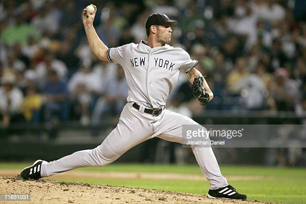 Kyle Farnsworth of the New York Yankees pitches against the Chicago White Sox in the 8th inning on August 9 2006 at US Cellular Field in Chicago...