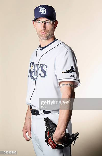 Kyle Farnsworth of the Tampa Bay Rays poses for a portrait during the Tampa Bay Rays Photo Day on February 22 2011 at the Charlotte Sports Complex in...