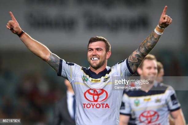 Kyle Feldt of the Cowboys celebrates winning the NRL Preliminary Final match between the Sydney Roosters and the North Queensland Cowboys at Allianz...
