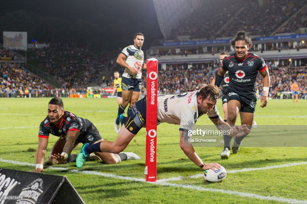 Kyle Feldt of the Cowboys dives over to score a try during the round five NRL match between the New Zealand Warriors and the North Queensland Cowboys at Mt Smart Stadium on April 7, 2018 in Auckland, New Zealand.