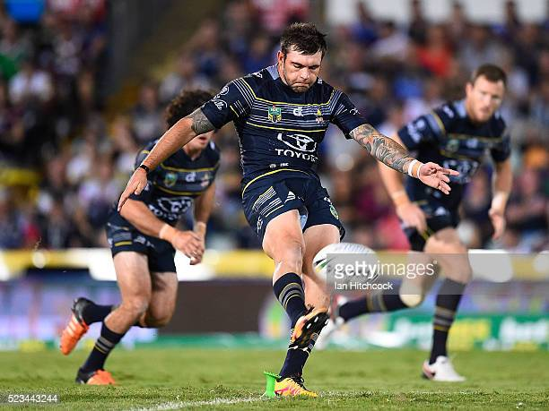 Kyle Feldt of the Cowboys kicks off to start the round eight NRL match between the North Queensland Cowboys and the Parramatta Eels at 1300SMILES...