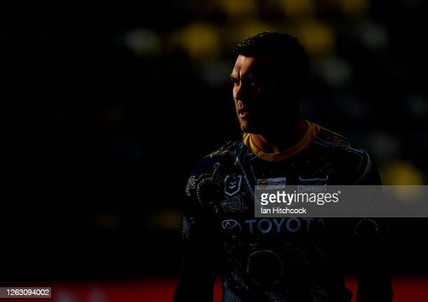 Kyle Feldt of the Cowboys looks on during the warm up before the start of the round 12 NRL match between the North Queensland Cowboys and the...