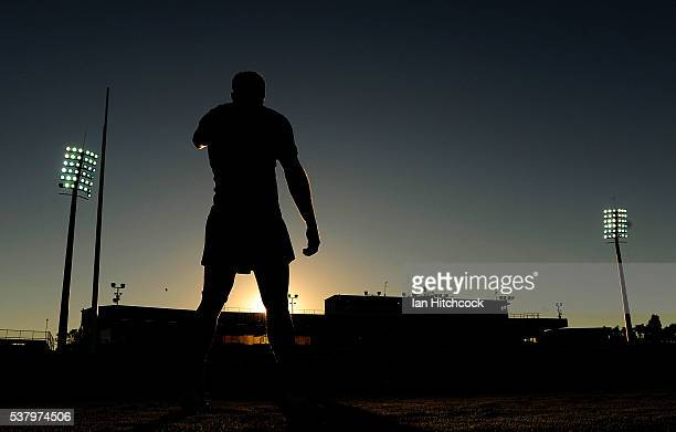 Kyle Feldt of the Cowboys looks on during the warm up before the start of the round 13 NRL match between the North Queensland Cowboys and the...
