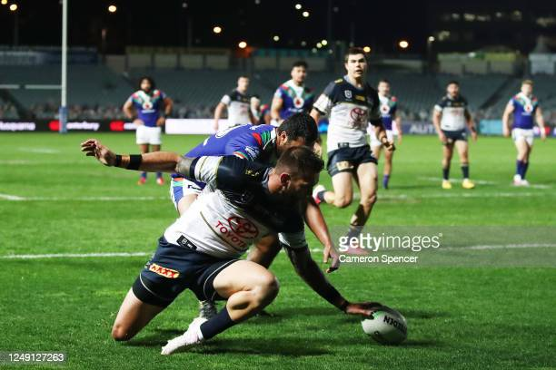 Kyle Feldt of the Cowboys scores a try during the round five NRL match between the New Zealand Warriors and the North Queensland Cowboys at Central...
