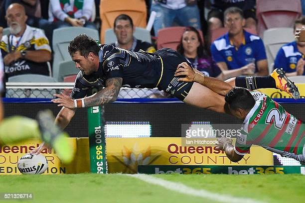 Kyle Feldt of the Cowboys scores a try during the round seven NRL match between the North Queensland Cowboys and the South Sydney Rabbitohs at...