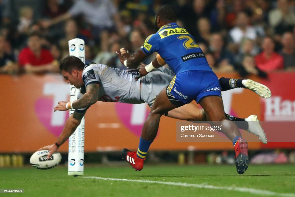 Kyle Feldt of the Cowboys scors a try for the Cowboys during the round 14 NRL match between the Parramatta Eels and the North Queensland Cowboys at TIO Stadium on June 10, 2017 in Darwin, Australia.