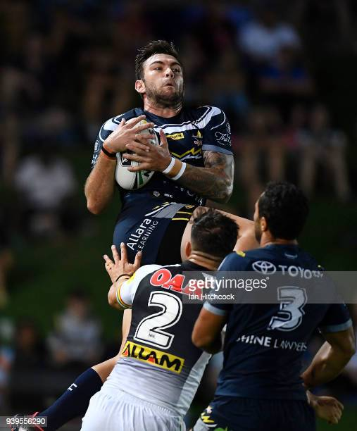 Kyle Feldt of the Cowboys takes a high ball during the round four NRL match between the North Queensland Cowboys and the Penrith Panthers at...
