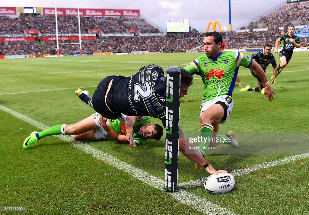 Kyle Feldt of the Cowboys unsuccessfully attempts to score a try during the round one NRL match between the North Queensland Cowboys and the Canberra Raiders at 1300SMILES Stadium on March 4, 2017 in Townsville, Australia.