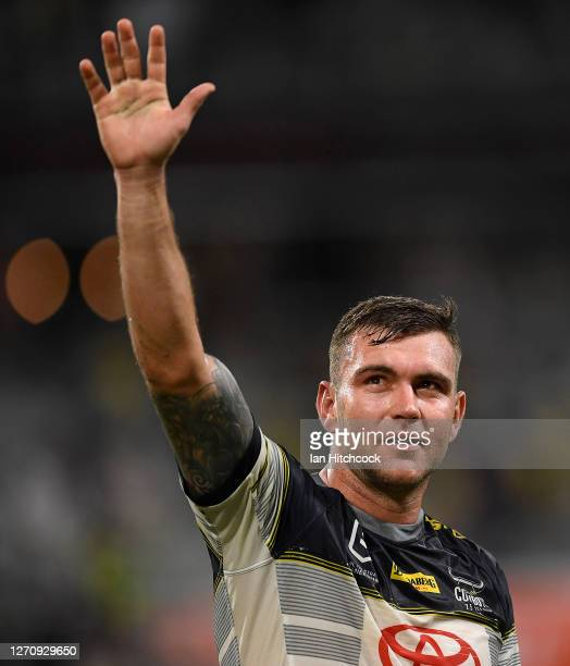 Kyle Feldt of the Cowboys waves to the crowd after winning the round 17 NRL match between the North Queensland Cowboys and the St George Illawarra...