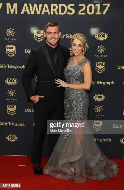 Kyle Feldt of the Cowboys with partner Deanna Finn arrive ahead of the 2017 Dally M Awards at The Star on September 27 2017 in Sydney Australia