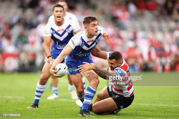 Kyle Flanagan of the Bulldogs passes during the round nine NRL match between the St George Illawarra Dragons and the Canterbury Bulldogs at Netstrata...
