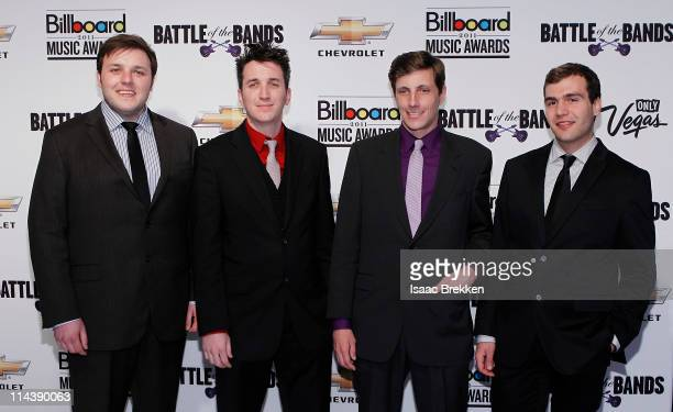 Kyle Frankiewich Blake Madden Brandon Malec and Aaron Voros of the band Hotels arrive at Billboard's Cruzeing To Vegas Battle Of The Bands on May 18...