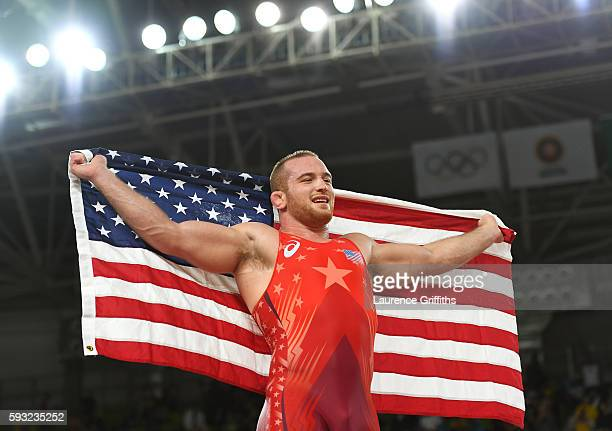 Kyle Frederick Snyder of the United States celebrates after winning gold over Khetag Goziumov of Azerbaijan during the Men's Freestyle 97kg Gold...