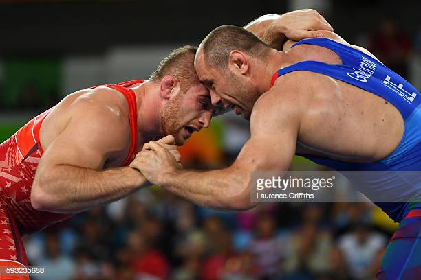 Kyle Frederick Snyder of the United States competes against Khetag Goziumov of Azerbaijan during the Men's Freestyle 97kg Gold medal match on Day 16...