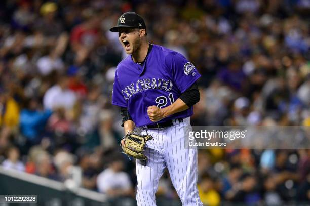 Kyle Freeland of the Colorado Rockies celebrates after the third out of the seventh inning of a game against the Pittsburgh Pirates at Coors Field on...