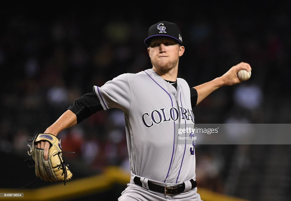 Kyle Freeland #31 of the Colorado Rockies delivers a first inning pitch against the Arizona Diamondbacks at Chase Field on September 11, 2017 in Phoenix, Arizona.