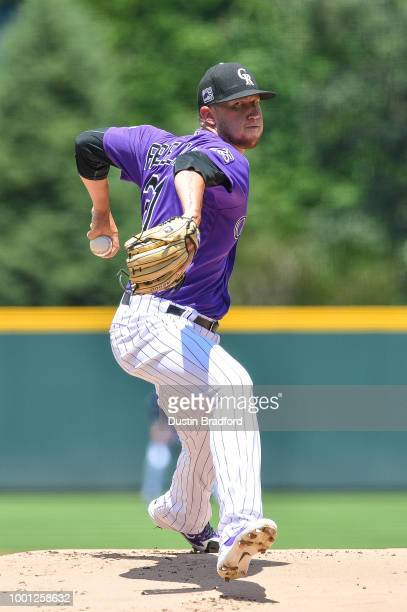 Kyle Freeland of the Colorado Rockies pitches against the Arizona Diamondbacks in the first inning of a game at Coors Field on July 12 2018 in Denver...