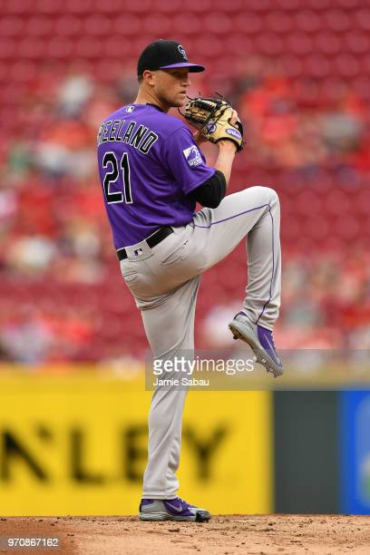 Kyle Freeland of the Colorado Rockies pitches against the Cincinnati Reds at Great American Ball Park on June 5 2018 in Cincinnati Ohio