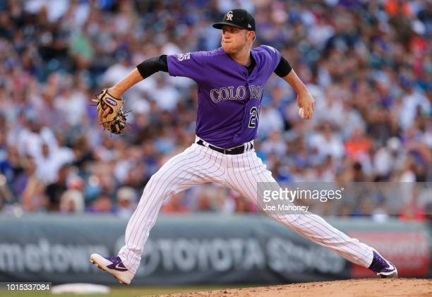 Kyle Freeland of the Colorado Rockies pitches against the Los Angeles Dodger in the fifth inning at Coors Field on August 11 2018 in Denver Colorado