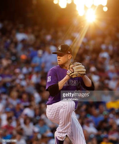 Kyle Freeland of the Colorado Rockies pitches against the Los Angeles Dodgers in the seventh inning at Coors Field on August 11 2018 in Denver...