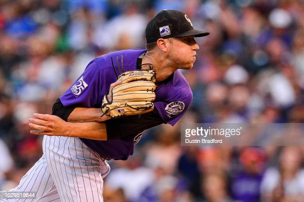 Kyle Freeland of the Colorado Rockies pitches against the Los Angeles Dodgers in the third inning of a game at Coors Field on September 8 2018 in...
