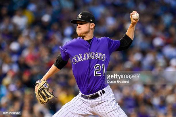 Kyle Freeland of the Colorado Rockies pitches against the Los Angeles Dodgers in the fifth inning of a game at Coors Field on September 8 2018 in...