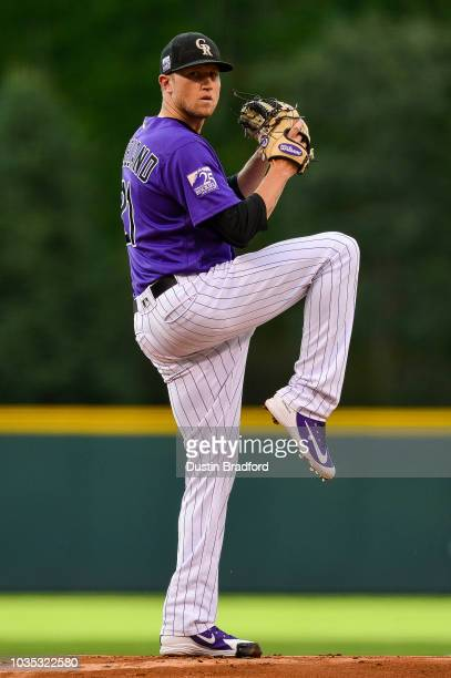 Kyle Freeland of the Colorado Rockies pitches against the Los Angeles Dodgers in the first inning of a game at Coors Field on September 8 2018 in...