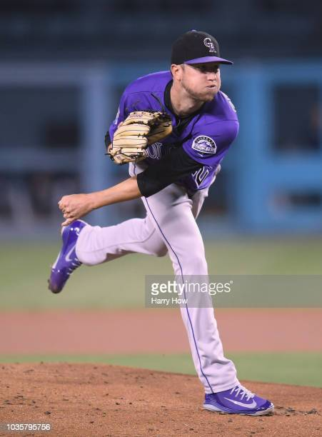Kyle Freeland of the Colorado Rockies pitches against the Los Angeles Dodgers during the first inning at Dodger Stadium on September 18 2018 in Los...