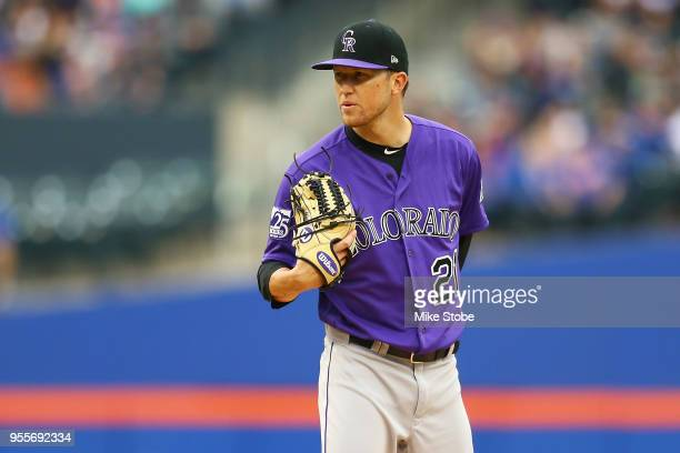 Kyle Freeland of the Colorado Rockies pitches against the New York Mets at Citi Field on May 6 2018 in the Flushing neighborhood of the Queens...