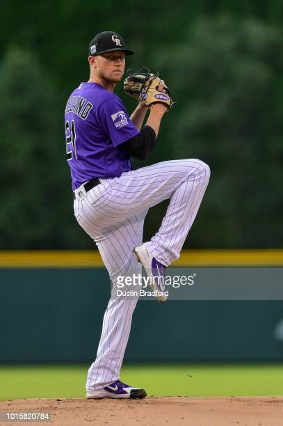 Kyle Freeland of the Colorado Rockies pitches against the Pittsburgh Pirates in the first inning of game at Coors Field on August 6 2018 in Denver...