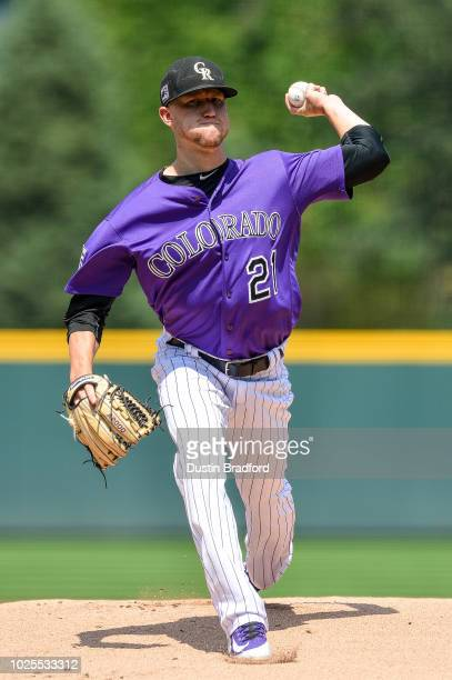 Kyle Freeland of the Colorado Rockies pitches against the San Diego Padres in the first inning of a game at Coors Field on August 23 2018 in Denver...