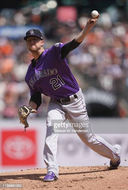 Kyle Freeland of the Colorado Rockies pitches against the San Francisco Giants in the bottom of the first inning of a Major League Baseball game at...
