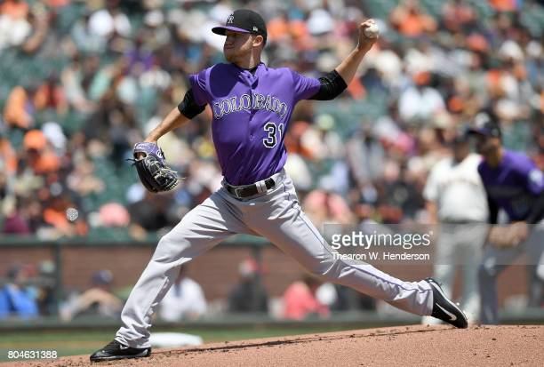 Kyle Freeland of the Colorado Rockies pitches against the San Francisco Giants in the bottom of the first inning at ATT Park on June 28 2017 in San...