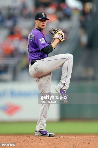 Kyle Freeland of the Colorado Rockies pitches during a game against the San Francisco Giants at ATT Park on Wednesday June 27 2018 in San Francisco...