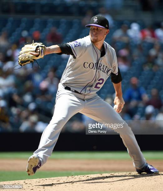 Kyle Freeland of the Colorado Rockies pitches during the second inning of a baseball game against the San Diego Padres at PETCO Park on September 2...