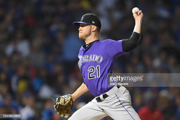 Kyle Freeland of the Colorado Rockies pitches in the first inning against the Chicago Cubs during the National League Wild Card Game at Wrigley Field...